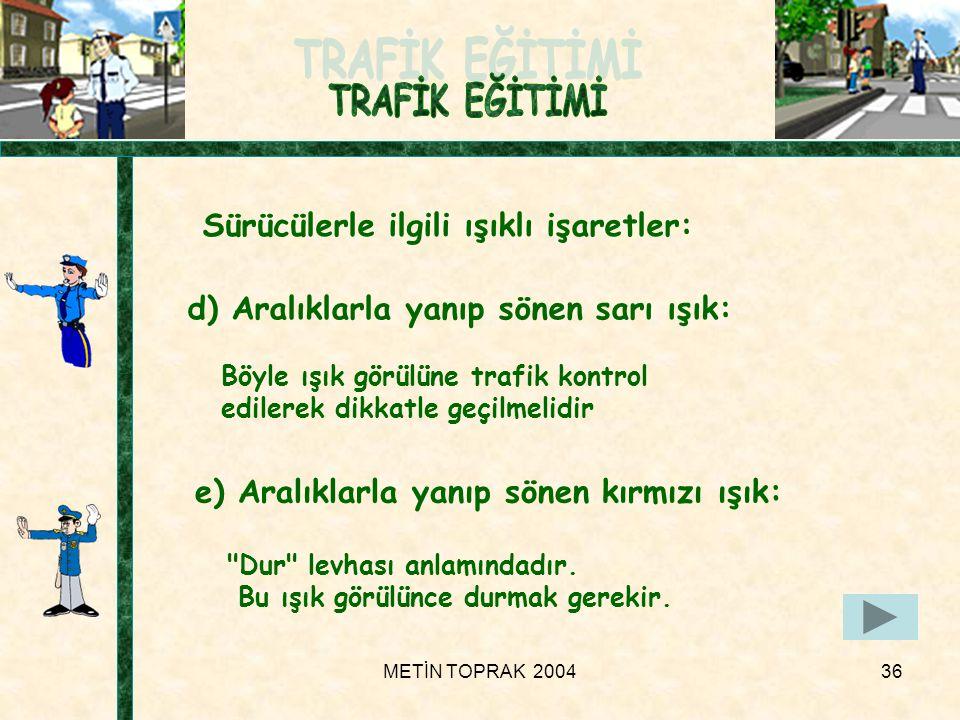 METİN TOPRAK 200436 Sürücülerle ilgili ışıklı işaretler: e) Aralıklarla yanıp sönen kırmızı ışık: Dur levhası anlamındadır.
