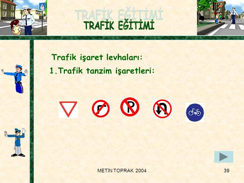 METİN TOPRAK 200439 Trafik işaret levhaları: 1.Trafik tanzim işaretleri: