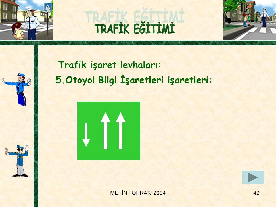 METİN TOPRAK 200442 Trafik işaret levhaları: 5.Otoyol Bilgi İşaretleri işaretleri: