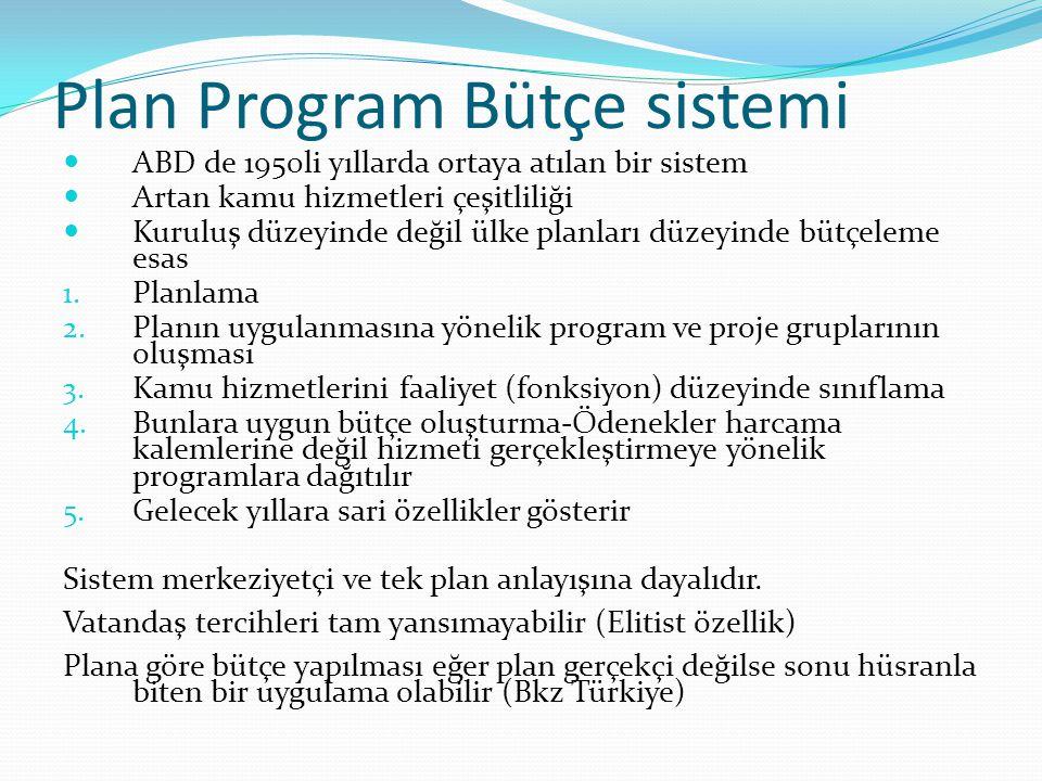 Plan Program Bütçe sistemi  ABD de 1950li yıllarda ortaya atılan bir sistem  Artan kamu hizmetleri çeşitliliği  Kuruluş düzeyinde değil ülke planla