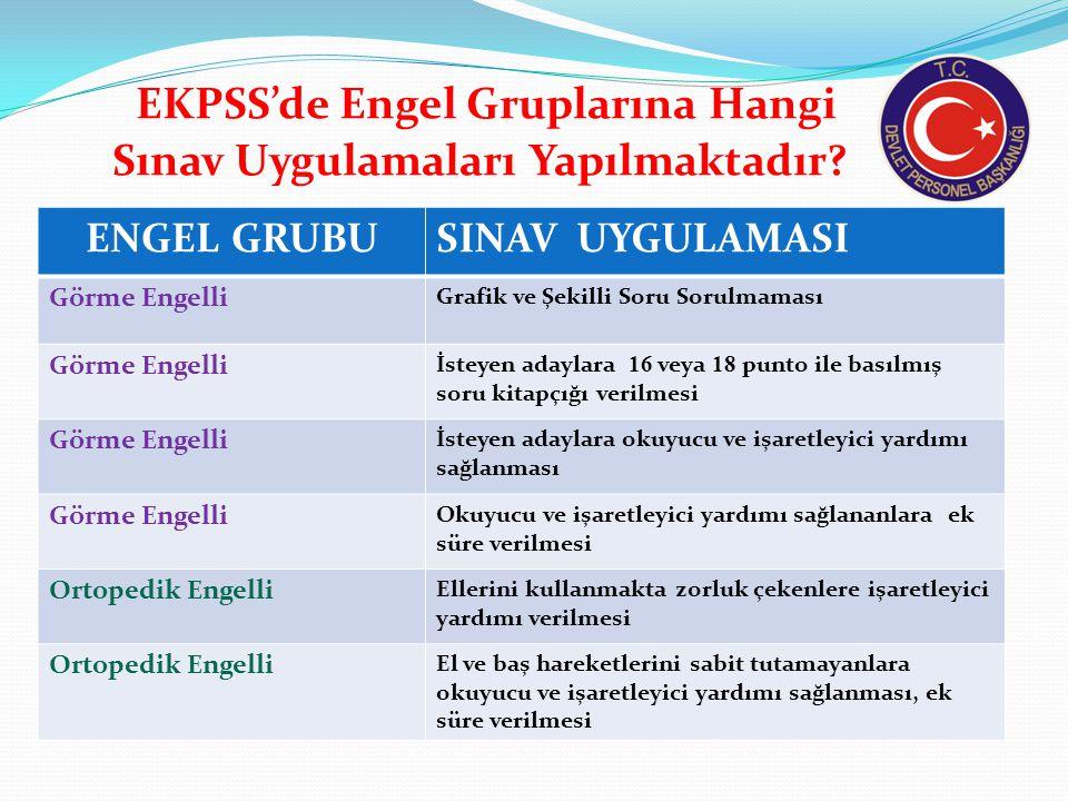 EKPSS'de Engel Gruplarına Hangi Sınav Uygulamaları Yapılmaktadır.