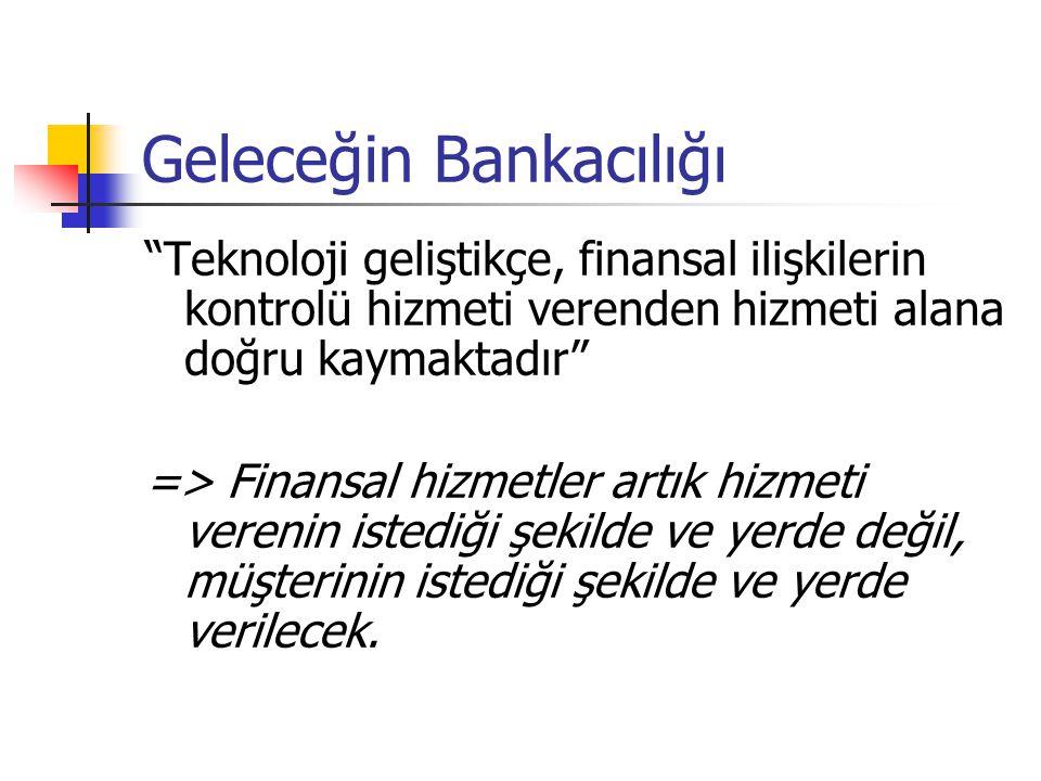 """Geleceğin Bankacılığı """"Teknoloji geliştikçe, finansal ilişkilerin kontrolü hizmeti verenden hizmeti alana doğru kaymaktadır"""" => Finansal hizmetler art"""