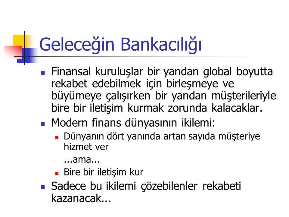 Geleceğin Bankacılığı  Finansal kuruluşlar bir yandan global boyutta rekabet edebilmek için birleşmeye ve büyümeye çalışırken bir yandan müşterileriy