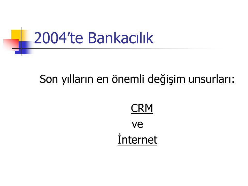 2004'te Bankacılık: CRM  CRM (Customer Relationship Management) tüm bankalar için kritik önem taşıyor  Segmentasyon (müşteriyi belirli kriterlere göre sınıflandırma)  Müşteri odaklı pazarlama  Müşteri gruplarının ihtiyaçlarının belirlenmesi ve spesifik ürünler sunulması  Müşterilerin bire bir takibi, davranışsal analiz  Data extraction, data mining, data processing