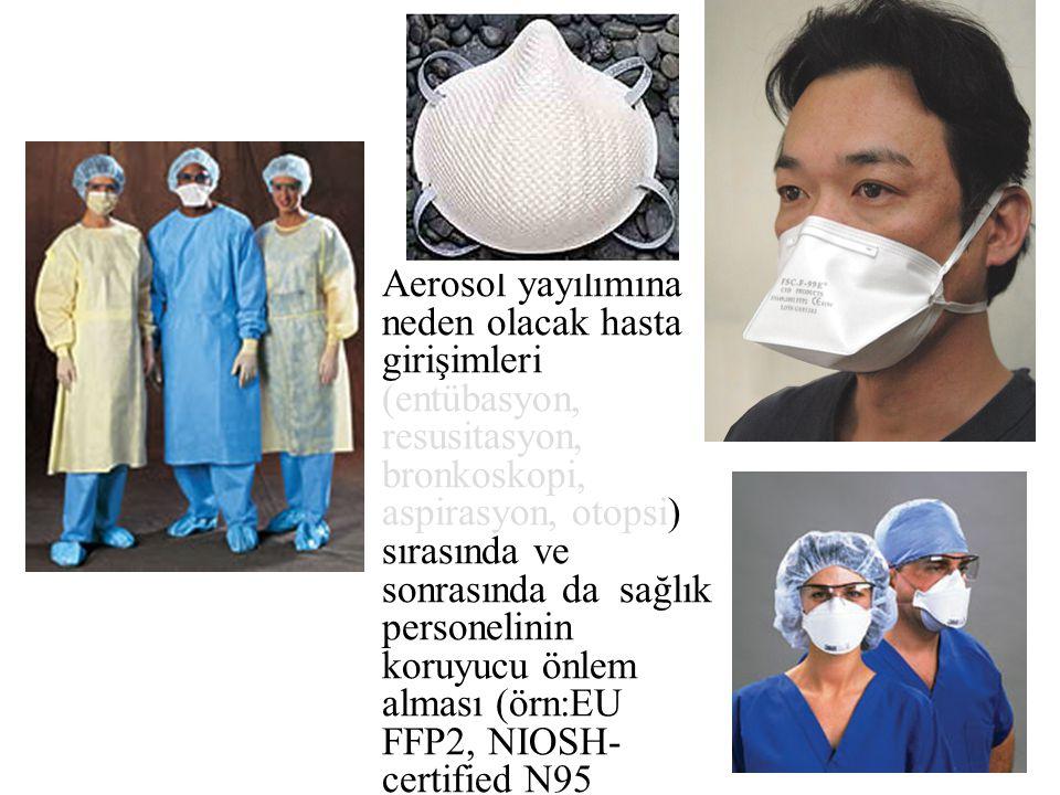 Aerosol yayılımına neden olacak hasta girişimleri (entübasyon, resusitasyon, bronkoskopi, aspirasyon, otopsi) sırasında ve sonrasında da sağlık person