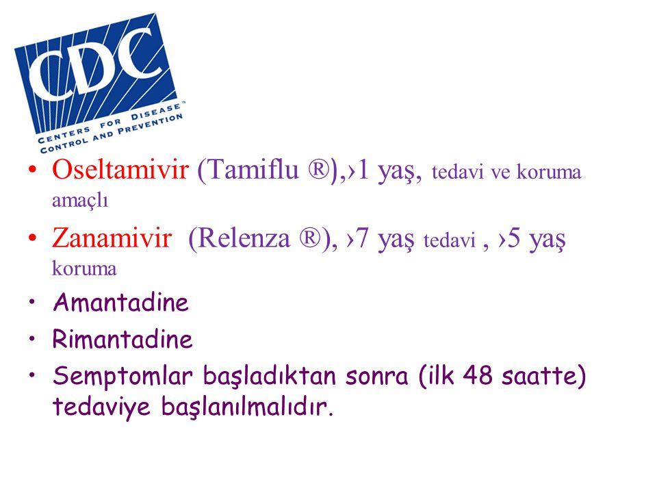 •Oseltamivir (Tamiflu ® ),›1 yaş, tedavi ve koruma amaçlı •Zanamivir (Relenza ®), ›7 yaş tedavi, ›5 yaş koruma •Amantadine •Rimantadine •Semptomlar ba