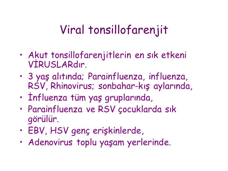 Viral tonsillofarenjit •Akut tonsillofarenjitlerin en sık etkeni VİRUSLARdır. •3 yaş alıtında; Parainfluenza, influenza, RSV, Rhinovirus; sonbahar-kış
