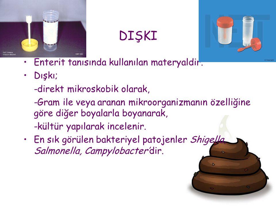 DIŞKI •Enterit tanısında kullanılan materyaldir. •Dışkı; -direkt mikroskobik olarak, -Gram ile veya aranan mikroorganizmanın özelliğine göre diğer boy