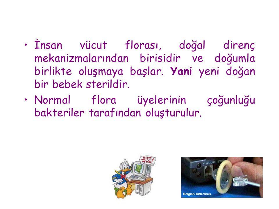 •İnsan vücut florası, doğal direnç mekanizmalarından birisidir ve doğumla birlikte oluşmaya başlar. Yani yeni doğan bir bebek sterildir. •Normal flora