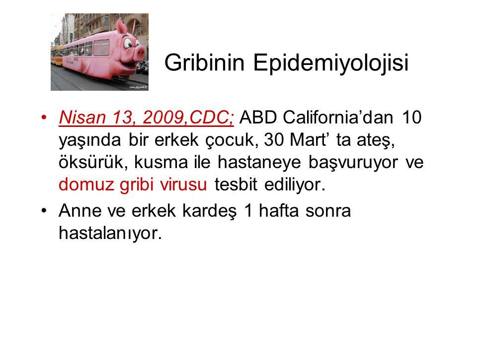 Gribinin Epidemiyolojisi •Nisan 13, 2009,CDC; ABD California'dan 10 yaşında bir erkek çocuk, 30 Mart' ta ateş, öksürük, kusma ile hastaneye başvuruyor
