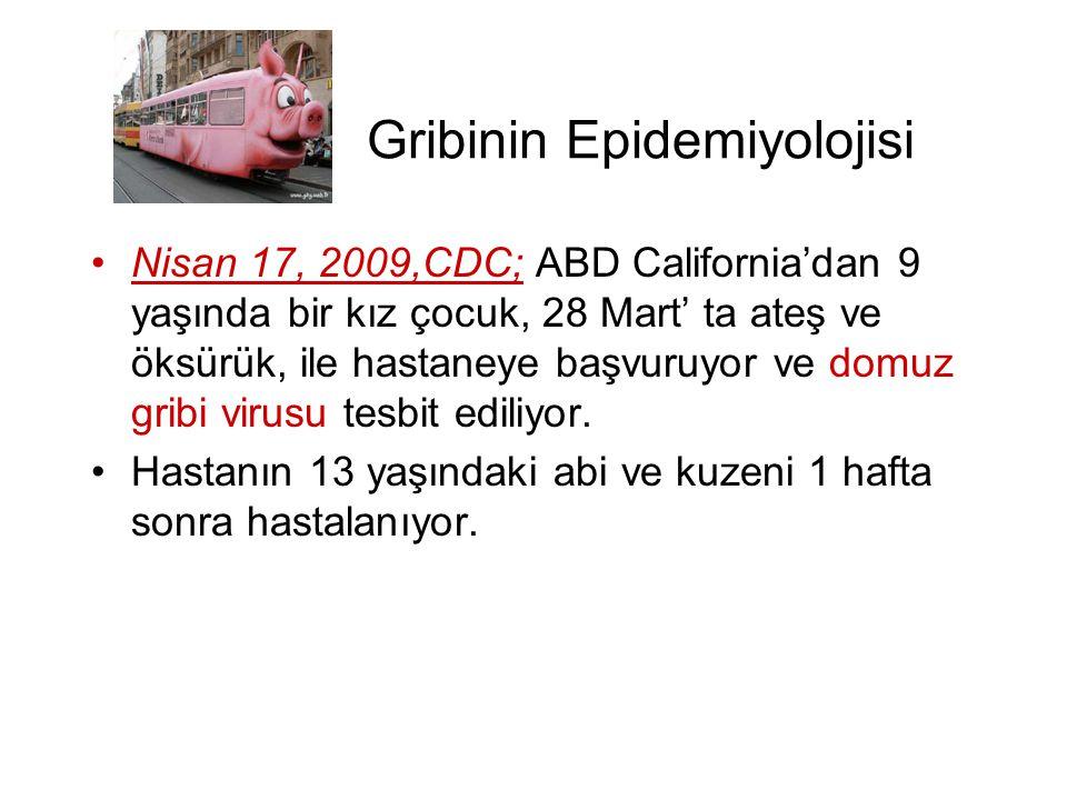 Gribinin Epidemiyolojisi •Nisan 17, 2009,CDC; ABD California'dan 9 yaşında bir kız çocuk, 28 Mart' ta ateş ve öksürük, ile hastaneye başvuruyor ve dom