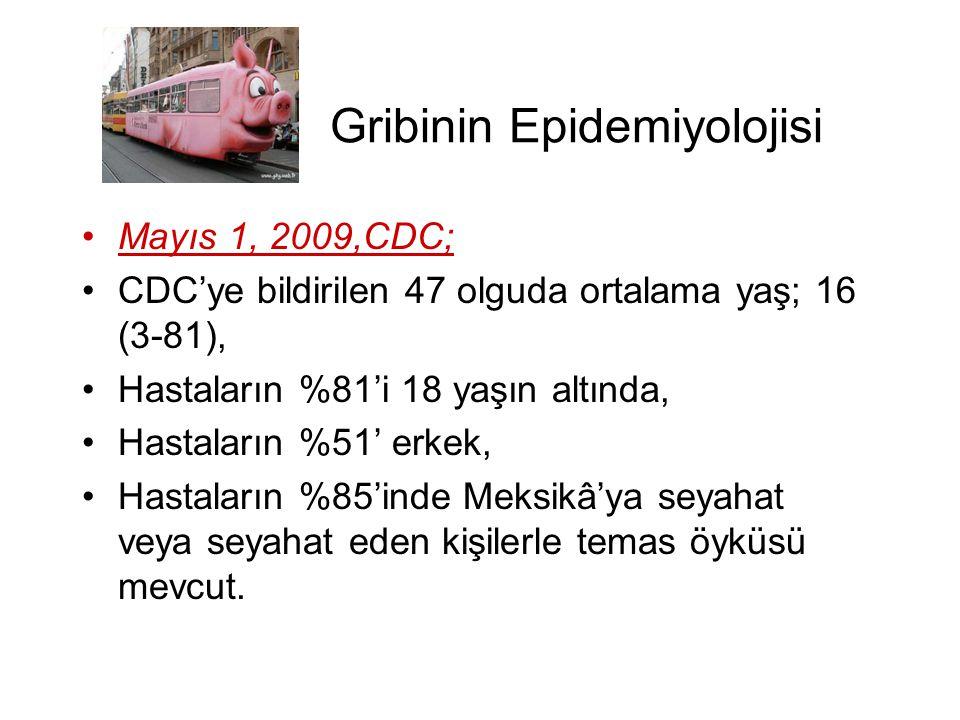 Gribinin Epidemiyolojisi •Mayıs 1, 2009,CDC; •CDC'ye bildirilen 47 olguda ortalama yaş; 16 (3-81), •Hastaların %81'i 18 yaşın altında, •Hastaların %51