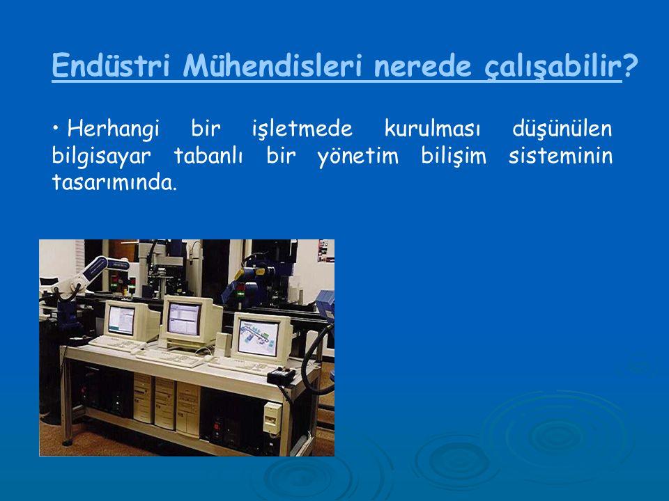 Endüstri Mühendisleri nerede çalışabilir? • Herhangi bir işletmede kurulması düşünülen bilgisayar tabanlı bir yönetim bilişim sisteminin tasarımında.