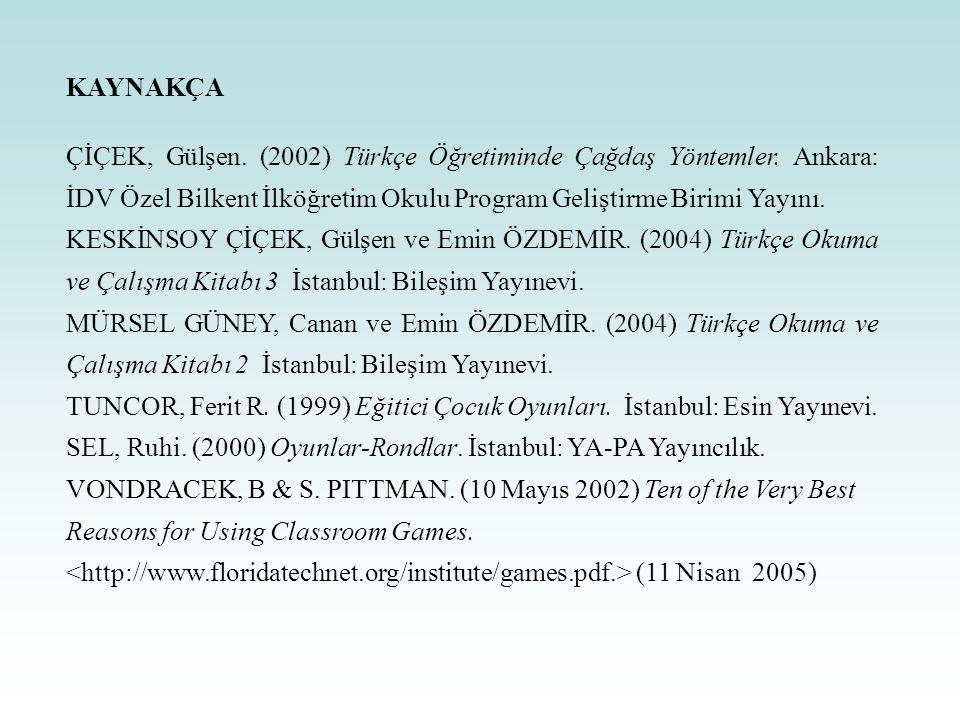 KAYNAKÇA ÇİÇEK, Gülşen. (2002) Türkçe Öğretiminde Çağdaş Yöntemler. Ankara: İDV Özel Bilkent İlköğretim Okulu Program Geliştirme Birimi Yayını. KESKİN