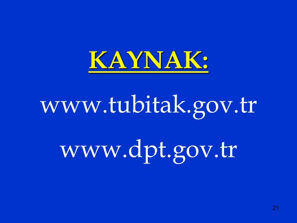 21 KAYNAK: www.tubitak.gov.tr www.dpt.gov.tr