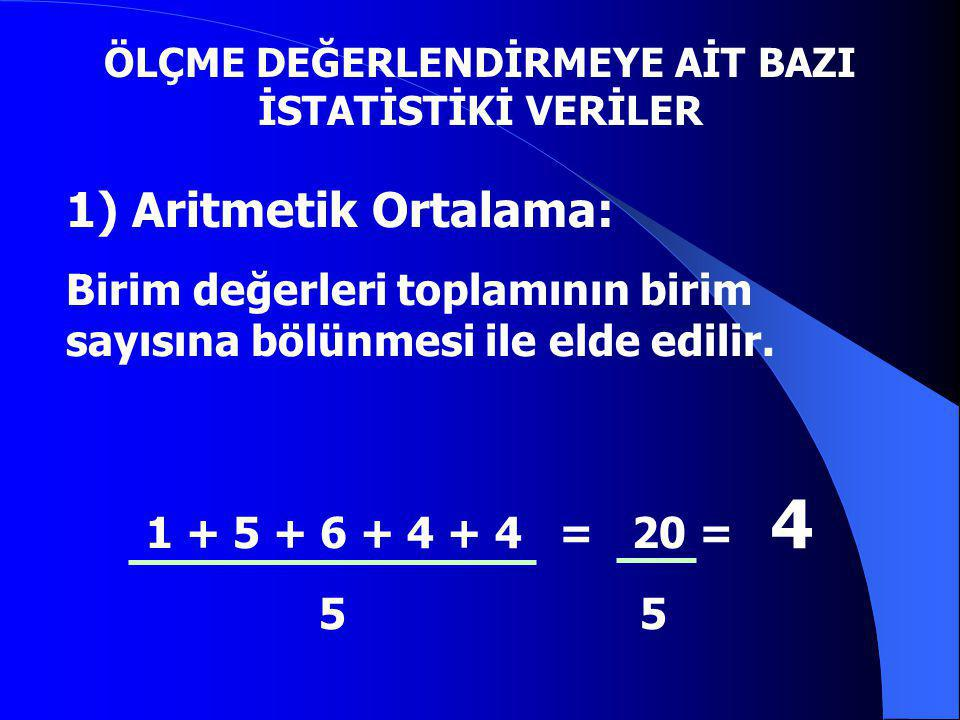 1) Aritmetik Ortalama: Birim değerleri toplamının birim sayısına bölünmesi ile elde edilir. 1 + 5 + 6 + 4 + 4 = 20 = 4 5 5 ÖLÇME DEĞERLENDİRMEYE AİT B