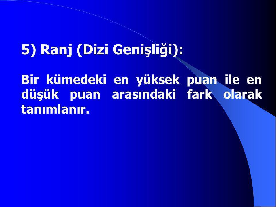 5) Ranj (Dizi Genişliği): Bir kümedeki en yüksek puan ile en düşük puan arasındaki fark olarak tanımlanır.