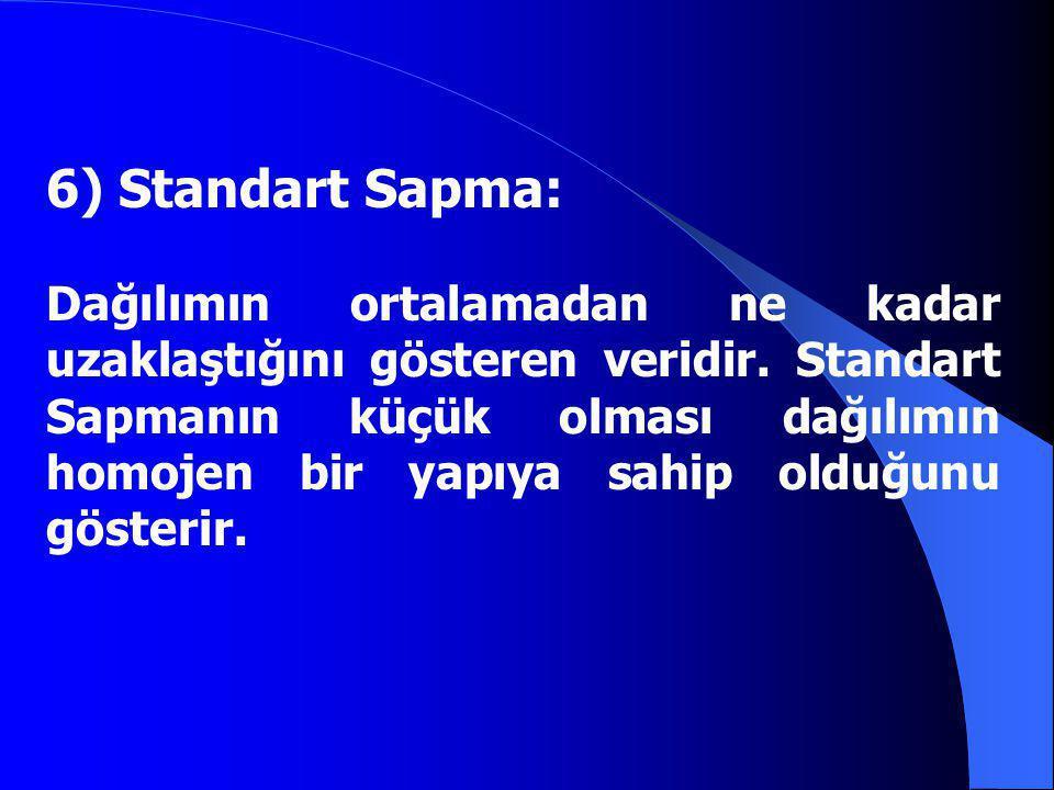 6) Standart Sapma: Dağılımın ortalamadan ne kadar uzaklaştığını gösteren veridir. Standart Sapmanın küçük olması dağılımın homojen bir yapıya sahip ol