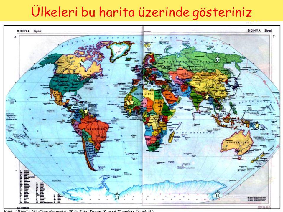 Ülkeleri bu harita üzerinde gösteriniz