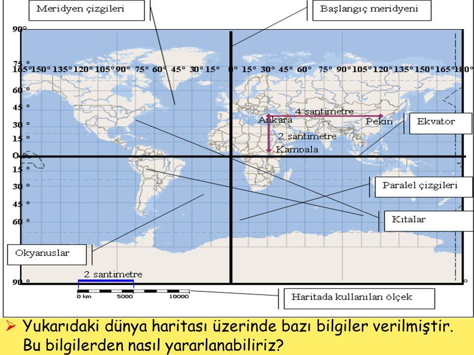  Yukarıdaki dünya haritası üzerinde bazı bilgiler verilmiştir. Bu bilgilerden nasıl yararlanabiliriz?