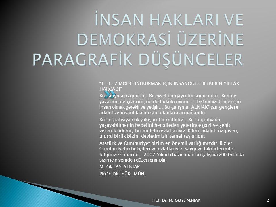 Prof. Dr. M. Oktay ALNIAK13 2. T.C. ANAYASASINA GÖRE İNSAN HAKLARI