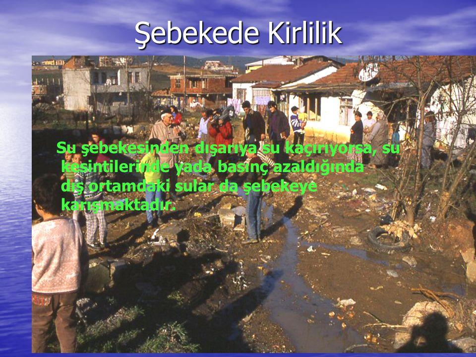 Şebekede Kirlilik Su şebekesinden dışarıya su kaçırıyorsa, su kesintilerinde yada basınç azaldığında dış ortamdaki sular da şebekeye karışmaktadır.