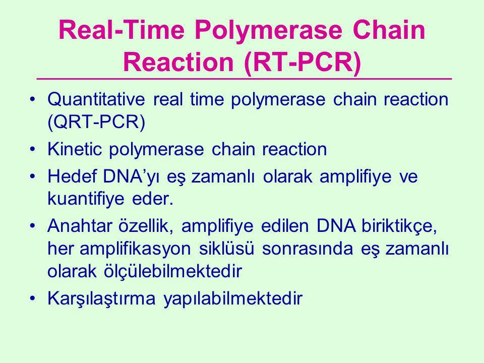 Real-Time Polymerase Chain Reaction (RT-PCR) •Quantitative real time polymerase chain reaction (QRT-PCR) •Kinetic polymerase chain reaction •Hedef DNA'yı eş zamanlı olarak amplifiye ve kuantifiye eder.