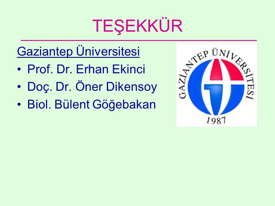 TEŞEKKÜR Gaziantep Üniversitesi •Prof.Dr. Erhan Ekinci •Doç.