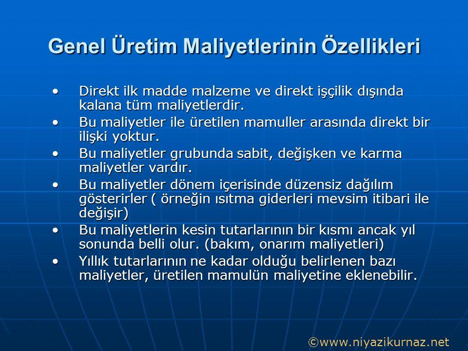 Genel Üretim Maliyetleri 1.Endirekt malzeme (yardımcı, işletme malzemeleri) 2.