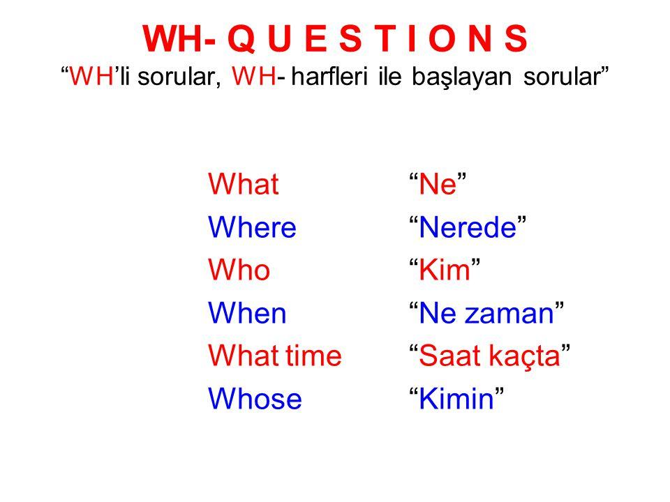 WH- Q U E S T I O N S WH'li sorular, WH- harfleri ile başlayan sorular What Ne Where Nerede Who Kim When Ne zaman What time Saat kaçta Whose Kimin