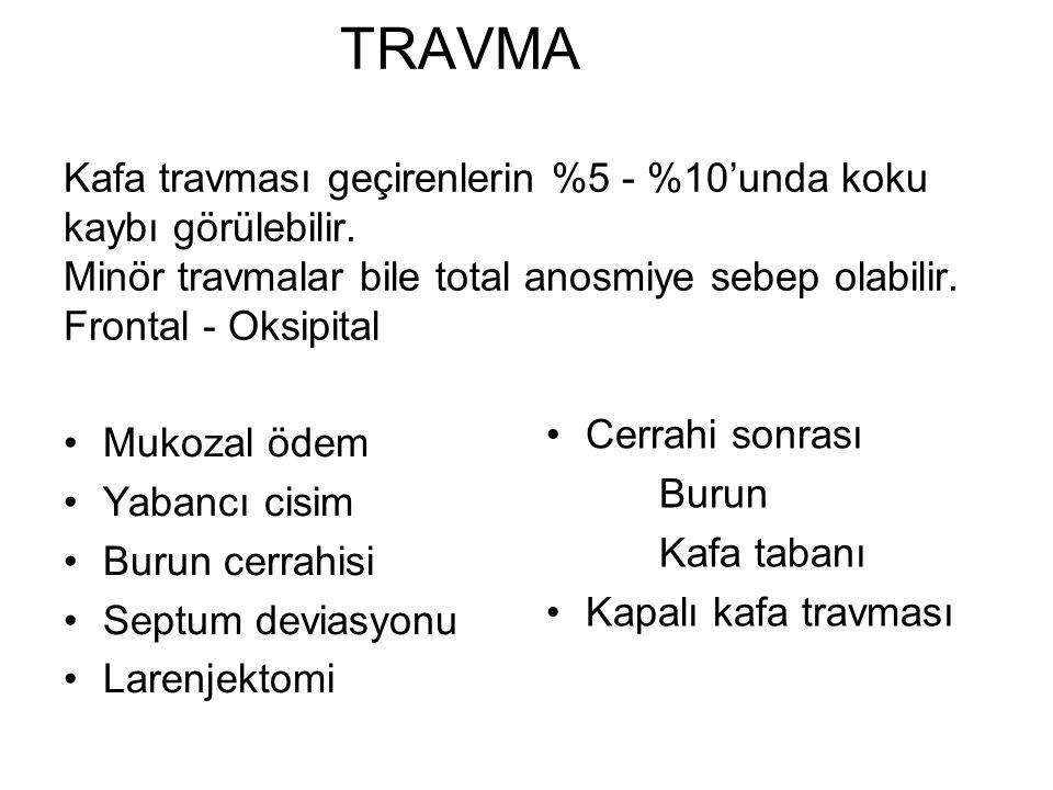 TRAVMA Kafa travması geçirenlerin %5 - %10'unda koku kaybı görülebilir.