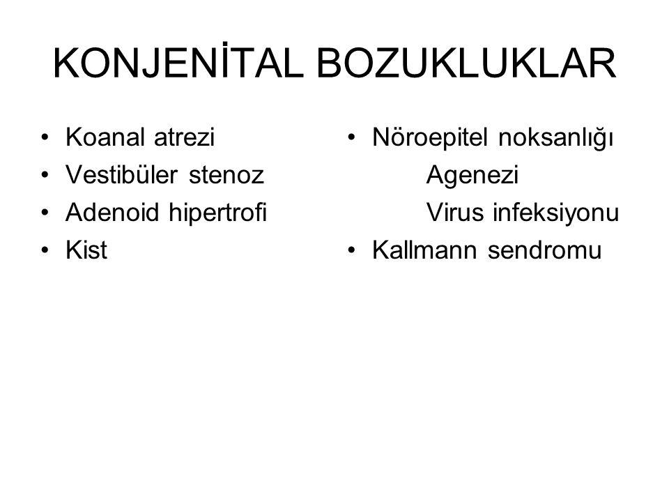 KONJENİTAL BOZUKLUKLAR •Koanal atrezi •Vestibüler stenoz •Adenoid hipertrofi •Kist •Nöroepitel noksanlığı Agenezi Virus infeksiyonu •Kallmann sendromu
