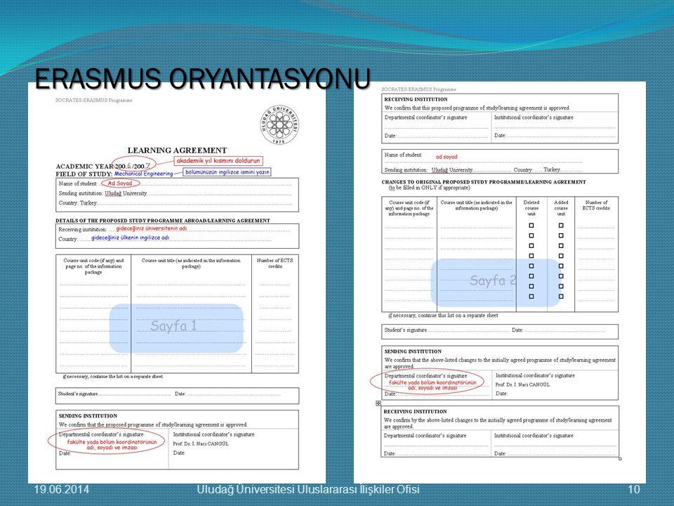 ERASMUS ORYANTASYONU 19.06.201410Uludağ Üniversitesi Uluslararası İlişkiler Ofisi