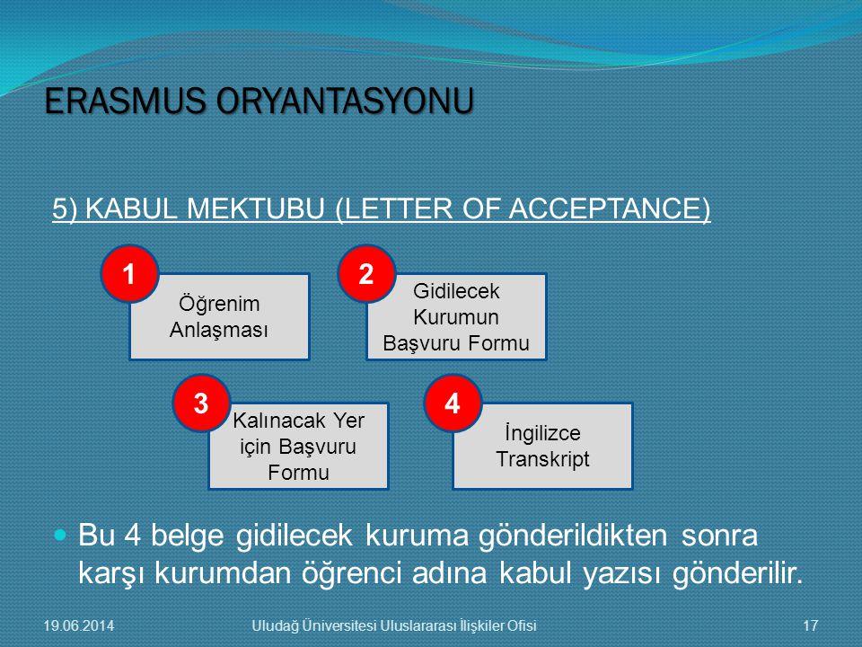  Bu 4 belge gidilecek kuruma gönderildikten sonra karşı kurumdan öğrenci adına kabul yazısı gönderilir. Öğrenim Anlaşması Kalınacak Yer için Başvuru