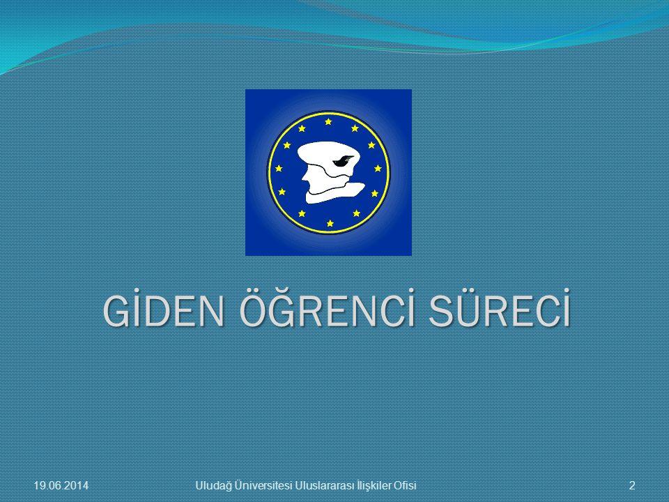 GİDEN ÖĞRENCİ SÜRECİ 19.06.20142Uludağ Üniversitesi Uluslararası İlişkiler Ofisi