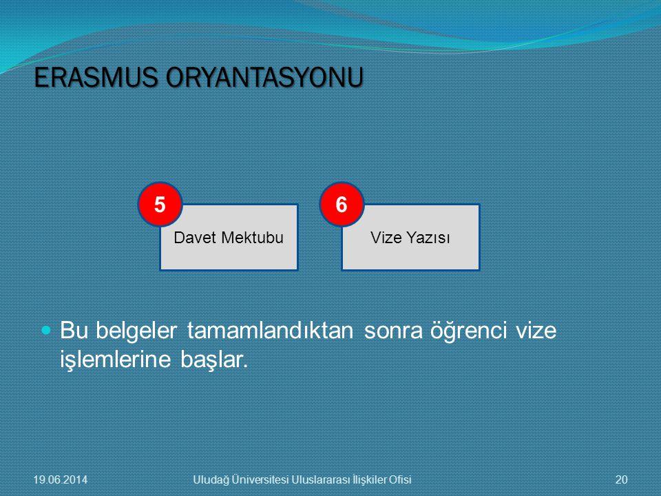  Bu belgeler tamamlandıktan sonra öğrenci vize işlemlerine başlar. ERASMUS ORYANTASYONU Davet MektubuVize Yazısı 56 19.06.201420Uludağ Üniversitesi U