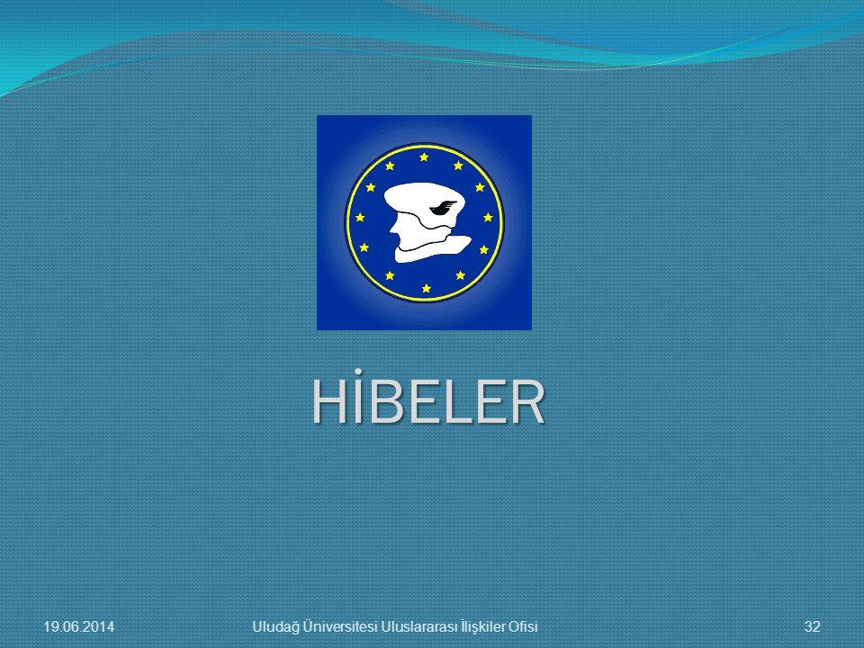 HİBELER 19.06.201432Uludağ Üniversitesi Uluslararası İlişkiler Ofisi