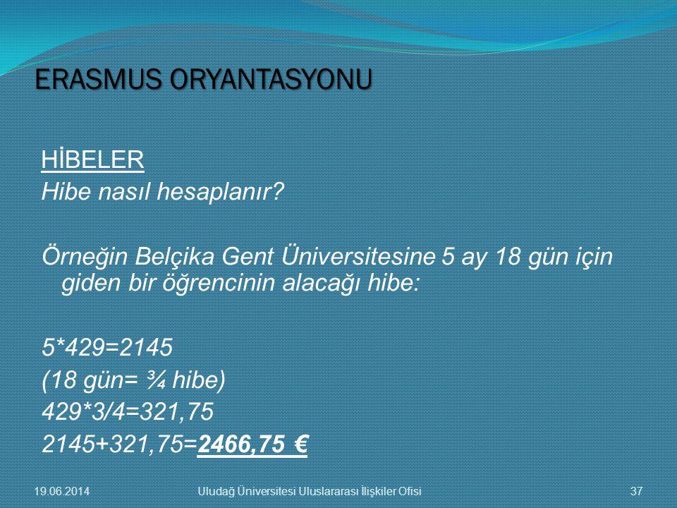 HİBELER Hibe nasıl hesaplanır? Örneğin Belçika Gent Üniversitesine 5 ay 18 gün için giden bir öğrencinin alacağı hibe: 5*429=2145 (18 gün= ¾ hibe) 429