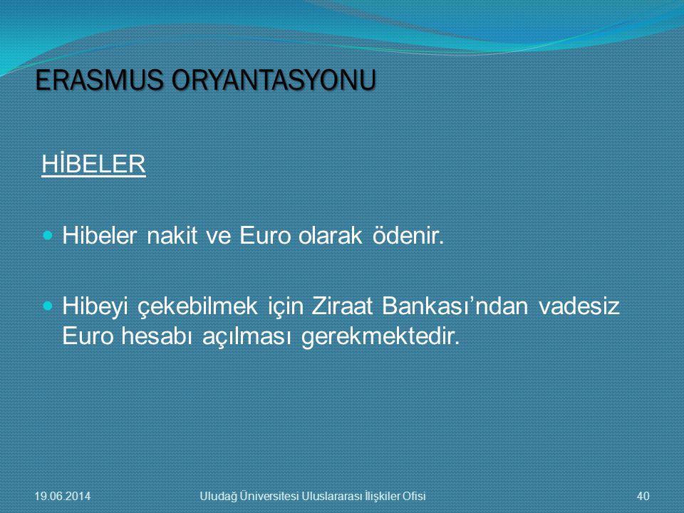 HİBELER  Hibeler nakit ve Euro olarak ödenir.  Hibeyi çekebilmek için Ziraat Bankası'ndan vadesiz Euro hesabı açılması gerekmektedir. ERASMUS ORYANT