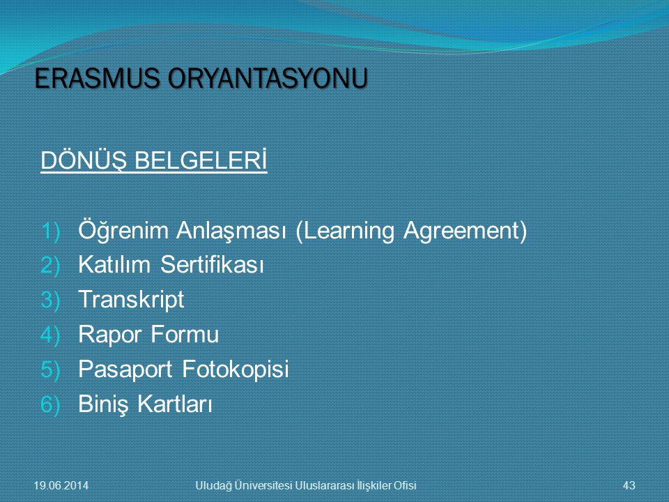 DÖNÜŞ BELGELERİ 1) Öğrenim Anlaşması (Learning Agreement) 2) Katılım Sertifikası 3) Transkript 4) Rapor Formu 5) Pasaport Fotokopisi 6) Biniş Kartları