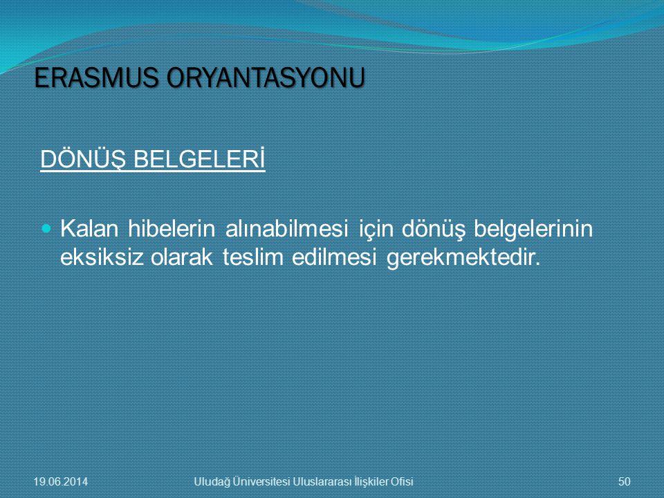 DÖNÜŞ BELGELERİ  Kalan hibelerin alınabilmesi için dönüş belgelerinin eksiksiz olarak teslim edilmesi gerekmektedir. ERASMUS ORYANTASYONU 19.06.20145