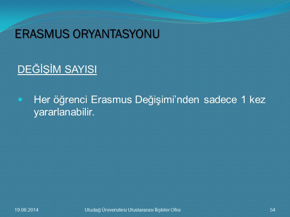 DEĞİŞİM SAYISI  Her öğrenci Erasmus Değişimi'nden sadece 1 kez yararlanabilir. ERASMUS ORYANTASYONU 19.06.201454Uludağ Üniversitesi Uluslararası İliş