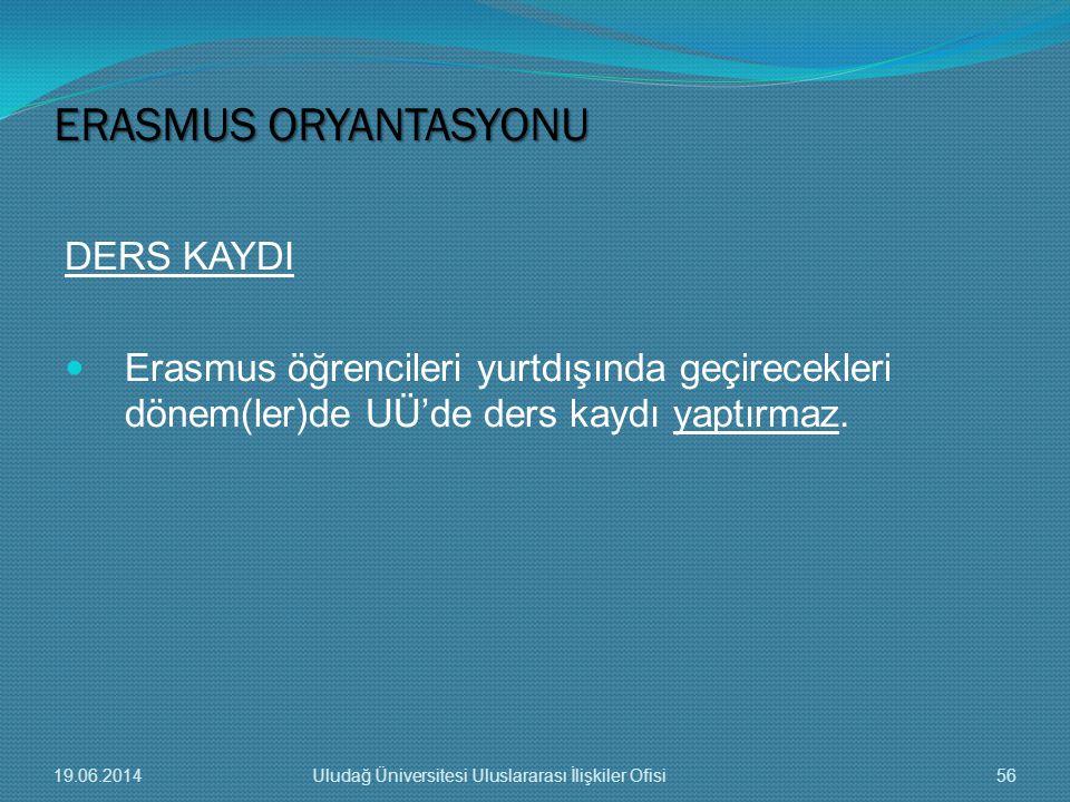 DERS KAYDI  Erasmus öğrencileri yurtdışında geçirecekleri dönem(ler)de UÜ'de ders kaydı yaptırmaz. ERASMUS ORYANTASYONU 19.06.201456Uludağ Üniversite