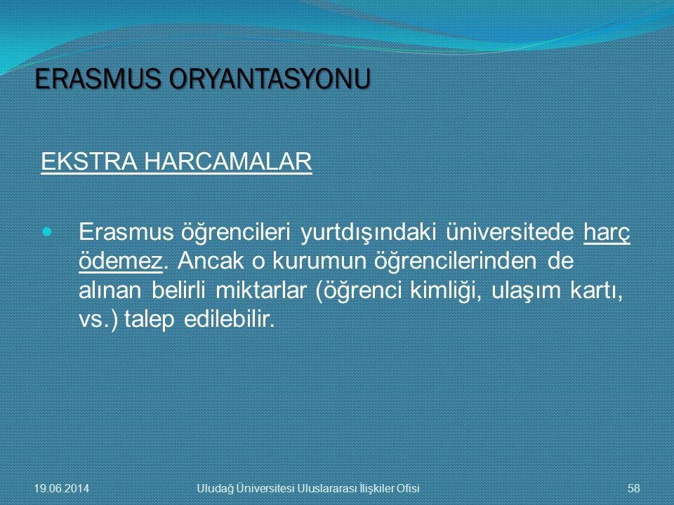 EKSTRA HARCAMALAR  Erasmus öğrencileri yurtdışındaki üniversitede harç ödemez. Ancak o kurumun öğrencilerinden de alınan belirli miktarlar (öğrenci k