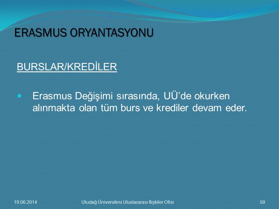 BURSLAR/KREDİLER  Erasmus Değişimi sırasında, UÜ'de okurken alınmakta olan tüm burs ve krediler devam eder. ERASMUS ORYANTASYONU 19.06.201459Uludağ Ü