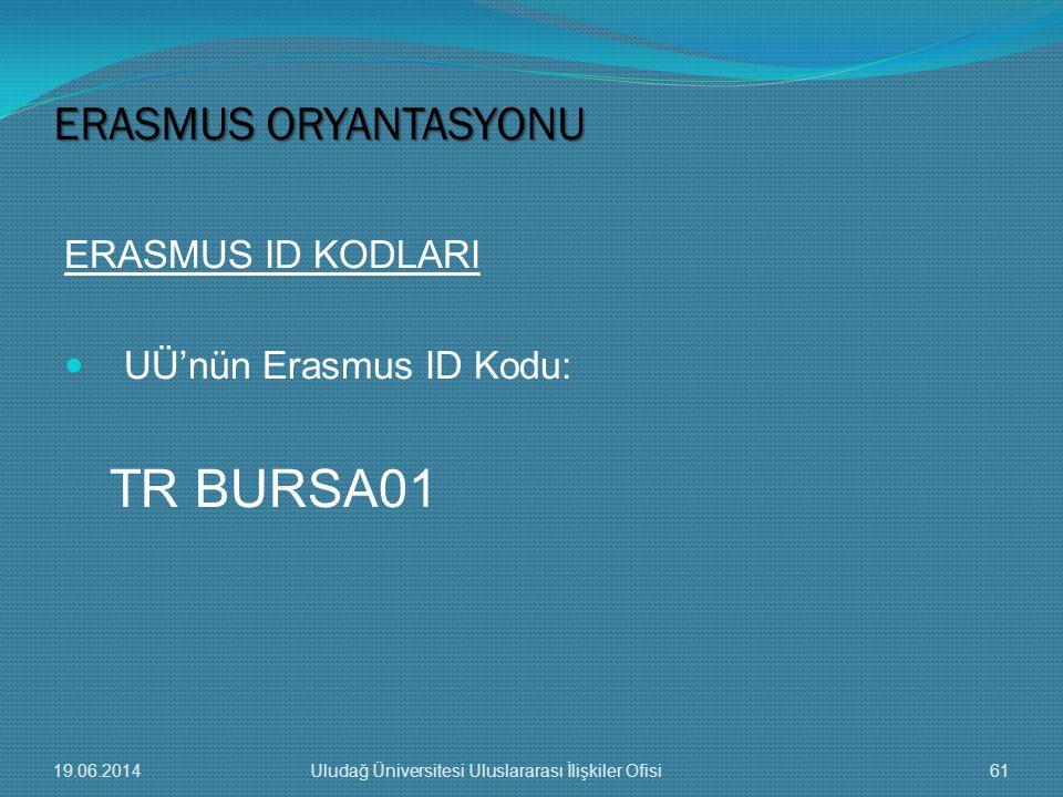 ERASMUS ID KODLARI  UÜ'nün Erasmus ID Kodu: TR BURSA01 ERASMUS ORYANTASYONU 19.06.201461Uludağ Üniversitesi Uluslararası İlişkiler Ofisi