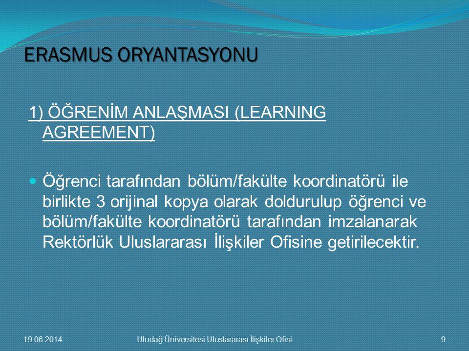 1) ÖĞRENİM ANLAŞMASI (LEARNING AGREEMENT)  Öğrenci tarafından bölüm/fakülte koordinatörü ile birlikte 3 orijinal kopya olarak doldurulup öğrenci ve b