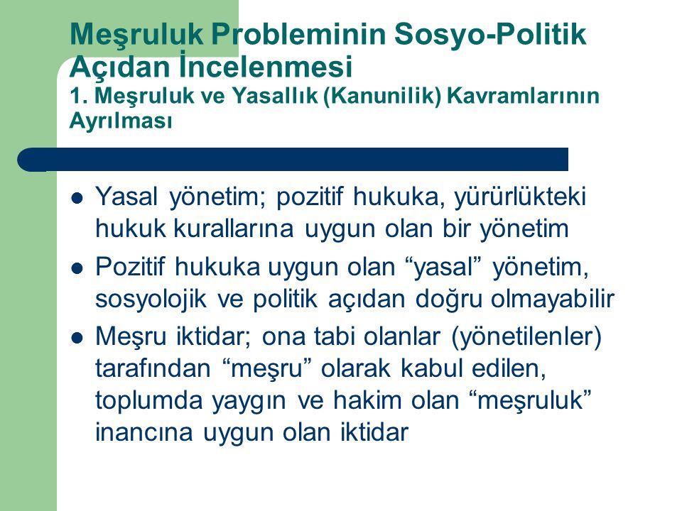 Meşruluk Probleminin Sosyo-Politik Açıdan İncelenmesi 1. Meşruluk ve Yasallık (Kanunilik) Kavramlarının Ayrılması  Yasal yönetim; pozitif hukuka, yür