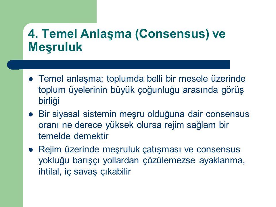 4. Temel Anlaşma (Consensus) ve Meşruluk  Temel anlaşma; toplumda belli bir mesele üzerinde toplum üyelerinin büyük çoğunluğu arasında görüş birliği