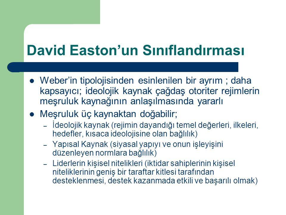 David Easton'un Sınıflandırması  Weber'in tipolojisinden esinlenilen bir ayrım ; daha kapsayıcı; ideolojik kaynak çağdaş otoriter rejimlerin meşruluk kaynağının anlaşılmasında yararlı  Meşruluk üç kaynaktan doğabilir; – İdeolojik kaynak (rejimin dayandığı temel değerleri, ilkeleri, hedefler, kısaca ideolojisine olan bağlılık) – Yapısal Kaynak (siyasal yapıyı ve onun işleyişini düzenleyen normlara bağlılık) – Liderlerin kişisel nitelikleri (iktidar sahiplerinin kişisel niteliklerinin geniş bir taraftar kitlesi tarafından desteklenmesi, destek kazanmada etkili ve başarılı olmak)